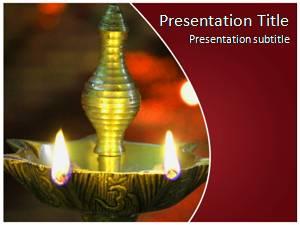 Diwali Lamp Free Ppt Template Slide1
