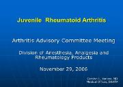 Juvenile Rheumatoid Arthritis Powerpoint Presentation