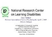 National Research Center on Learning Disabilities Powerpoint Presentation