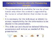 Caring for Students with Life-Threatening Allergies Powerpoint Presentation