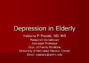 Depression in the Elderly - UNMC Powerpoint Presentation