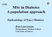 Epidemiology of Type 1 Diabetes Powerpoint Presentation
