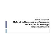 Role of Culture and Performance Powerpoint Presentation