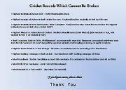 Unbreakable Cricket Records Powerpoint Presentation