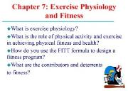 Exercise Physiology and Fitness Powerpoint Presentation