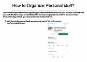 How to Organize Personal stuff Powerpoint Presentation
