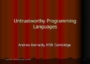 Untrustworthy Programming Languages Powerpoint Presentation