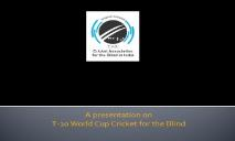 the Cricket Association for the Blind in India (CABI) PowerPoint Presentation