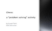 Chess (as a problem solving activity) PowerPoint Presentation