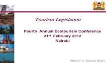 Tourism Legislation Eco Tourism Kenya PowerPoint Presentation