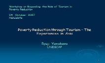 Poverty Reduction through Tourism PowerPoint Presentation