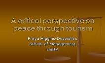 Does tourism enhance individual social peace PowerPoint Presentation