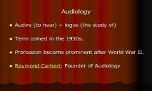 Audiology PowerPoint Presentation