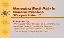 Managing Back Pain in General Practice PowerPoint Presentation