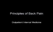 Principles of Back Pain PowerPoint Presentation