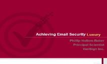 Achieving Email Security Usability PowerPoint Presentation