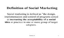 Definition of Social Marketing PowerPoint Presentation