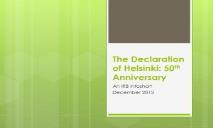 The Declaration of Helsinki-50th Anniversary PowerPoint Presentation