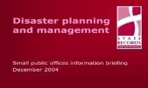 Disaster planning and management PowerPoint Presentation