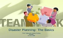 Disaster Planning-The Basics PowerPoint Presentation