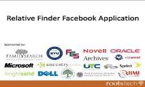 Relative Finder Facebook Application PowerPoint Presentation