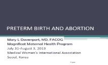 Preterm Birth And Abortion PowerPoint Presentation