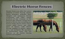 Electric Horse Fences PowerPoint Presentation