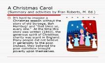 A Christmas Carol for teachers PowerPoint Presentation