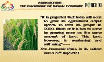 AGRICULTURE  (THE BACKBONE OF INDIAN ECONOMY) PowerPoint Presentation