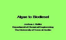 Algae to Biodiesel PowerPoint Presentation