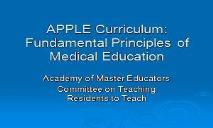APPLE Curriculum-Fundamental Principles of Medical Educaiton PowerPoint Presentation