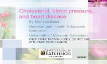 Cholesterol, blood pressure, and heart disease PowerPoint Presentation