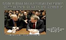 Modern Baseballs Antitrust Exemption PowerPoint Presentation