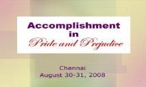 Accomplishment in Pride Prejudice PowerPoint Presentation