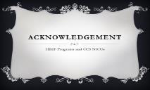 Acknowledgement California Perinatal Quality Care PowerPoint Presentation