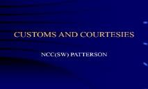 CUSTOMS AND COURTESIES PowerPoint Presentation