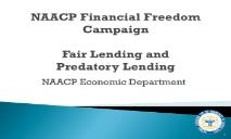NAACP Predatory Lending Financial Freedom Campaign PowerPoint Presentation