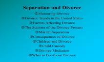 Separation and Divorce PowerPoint Presentation