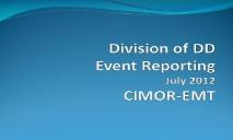 Division of DD Event Reporting Mental Health PowerPoint Presentation