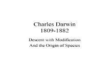 Charles Darwin 1809-1882 Department of Biology PowerPoint Presentation