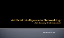 Artificial Intelligence in Networking Ant Colony Optimization PowerPoint Presentation