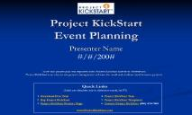 Project KickStart Event Planning Project PowerPoint Presentation