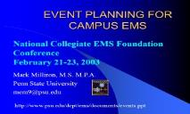 EVENT PLANNING FOR CAMPUS EMS PowerPoint Presentation