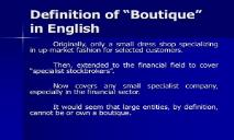 Definition of Boutique in English PowerPoint Presentation