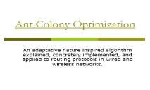 About Ant Colony Optimization PowerPoint Presentation