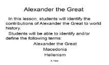Alexander the Great White Plains Public Schools PowerPoint Presentation