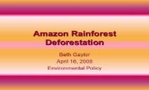 Amazon Rainforest Deforestation PowerPoint Presentation