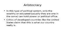 Aristocracy PowerPoint Presentation