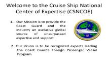 Welcome to the Cruise Ship National Center of Expertise PowerPoint Presentation