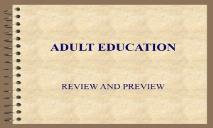ADULT EDUCATION Appalachian State University PowerPoint Presentation